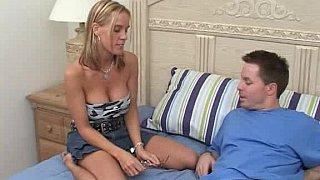 Busty girlfriend giving handjob and taking facial