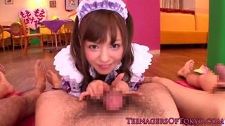 Cute waitress giving handjobs