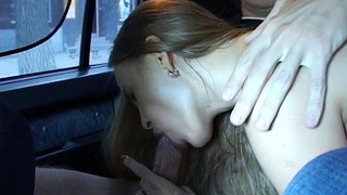 Amateur sucking dick in the taxi
