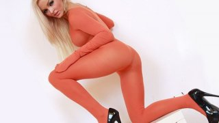 Leggy blonde babe full body nylon tights suit