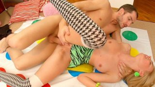 Twister and sex toy for a hot blonde scene 1