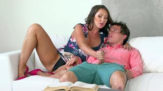 Cali Sparks caught her stepmom Yasmin Scott stroking her boyfriend's cock
