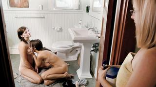 Girlfriends taking an epic shower