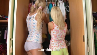 Blonde sweeties share a cock