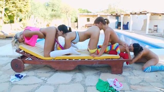 Four colorful lesbians with toys