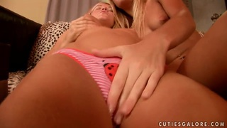 Cute lesbians Cristal and Ivanka pleasure each other