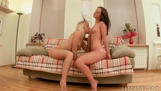 Awesome teens Aja and Alisa are pleasing each other