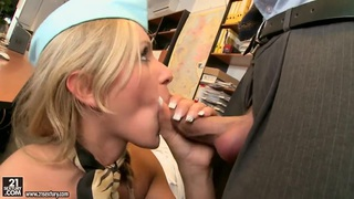 Slim blonde stewardess Jenny gets banged hard