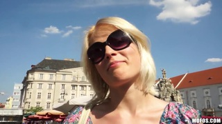 Slim pale blonde Catherine gets filmed in public