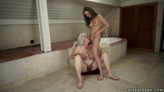 Vicky Braun and Norma having some good time together in the shower