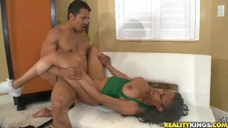 Athletically shaped young dude Brannon Rhodes is wildly fucking his busty brunette girlfriend London Reinas.