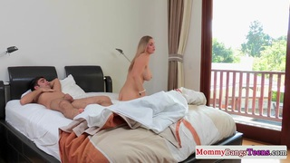 Busty milf pussyfucked in trio
