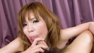 Cock hungry Ai Sakura does a number on this guys cock making him cum hard