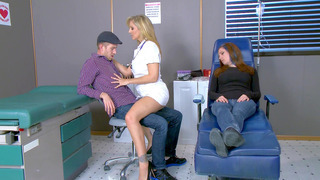 Horny nurse Julia Ann seducing Danny D while his girlfriend is dosing off