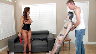 Francesca Le and Mark Wood have Yhivi mummified in plastic wrap