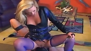 Cunnilingus in thigh high purple fishnet stockings