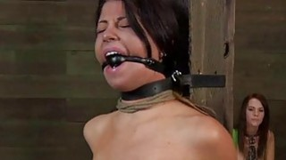 Tough hotty is hoisted up and given pussy torment