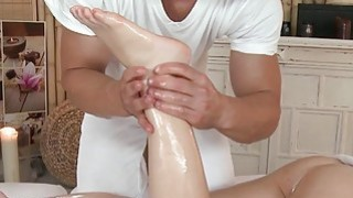 Masseur oils and bangs sexy brunette babe