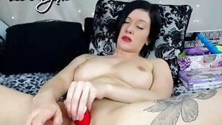 Girl with tatoo masturbating
