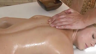 Masseur fucks shaved cunt Euro blonde