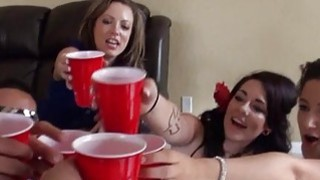 Teen harlots give cheerful geek a ideal fuck