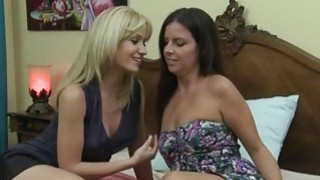 Hot women Angela Sommers and Kobe Lee making out on the bed