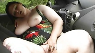 BBW cleans her chubby tits at carwash