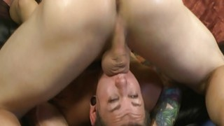 Tattooed up rock girl hot throat fucking