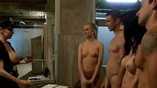 Two slutty babes hot foursome with dudes in the jailcell