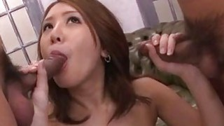 Threesome experience for hot babe Mariru Amamiya