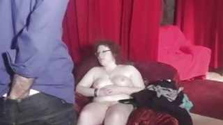 Hairy MILF shows her big body in backstage