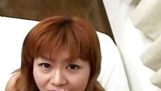 Asian redhead slut has a cock to suck on pov