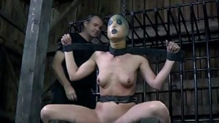 Bounded serf cutie is getting a slit punishment