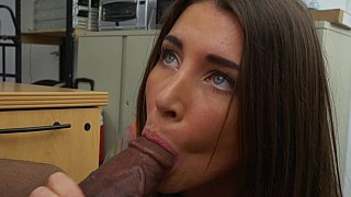 Gray eyed babe taking big black cock
