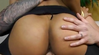 Juicy ebon enjoys riding on a meaty and thick knob