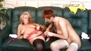 Two grannies fuck each other with double dildo