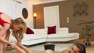 Big tits MILF Desi and sweet teen Kharlie make out on sofa
