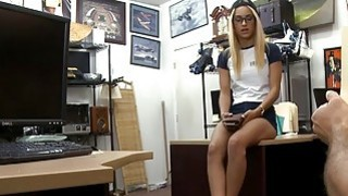Small tits babe pawns her pussy and banged by pawn guy