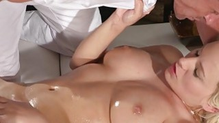 Big tits blonde wanks masseurs cock and fucks him