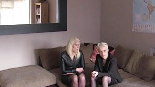 Two slutty blonde chicks share an agents cock on a casting