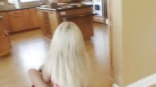 Pounding blonge gilrfriend in kitchen