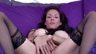 Brunette MILF masturbating in stockings