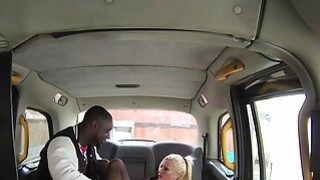 Black guy pounds huge tits blonde in her fake taxi