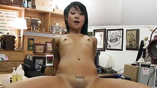 Skinny asian babe nailed by pawn keeper