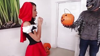 Teen Red riding hood sucks a big cock