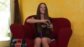 Tiny brunette uses vibrator for orgasm