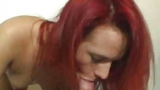 Amateur redhead does BJ until facial cumshot
