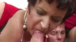 Three matures sharing a cocky stud