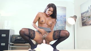 British ebony MILF Jasmine Webb rides hard white prick