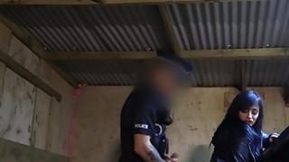 Petite robber babe fucks fake cop pov